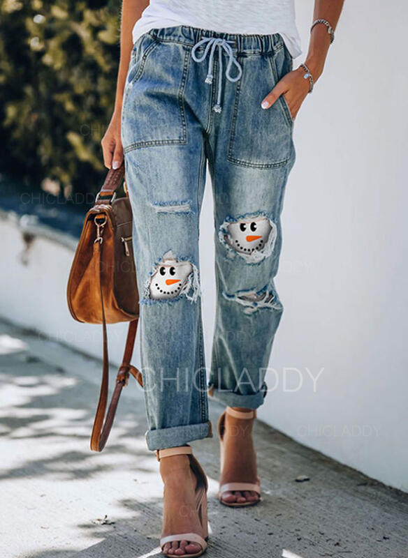 Patchwork Taglia grossa Strappata Coulisse Natale Casuale Tribal Denim & Jeans