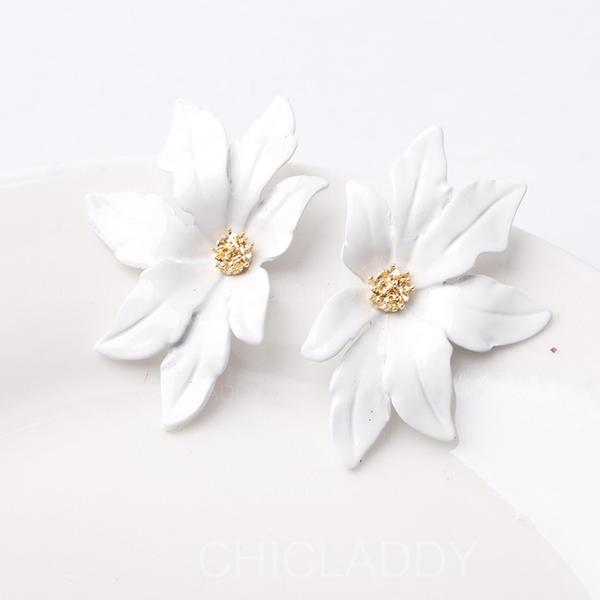 Flor em forma Liga Mulheres Moda Brincos