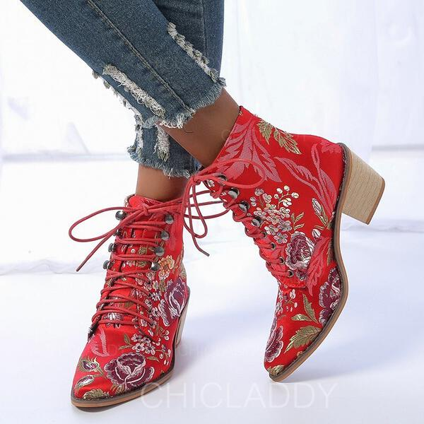 Donna PU Tacco spesso Stivali alla caviglia Punta a punta con Allacciato Stampa floreale scarpe