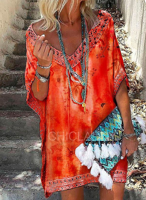 Encaje/Impresión/Floral Mangas 1/2 Tendencia Sobre la Rodilla Casual/Vacaciones Túnica Vestidos