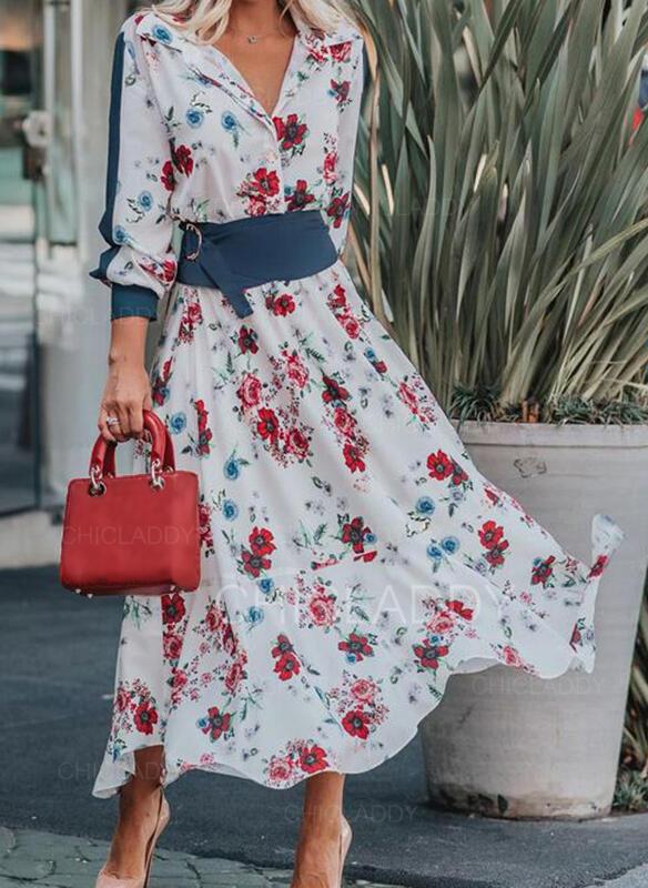 Nadrukowana/Kwiatowy Długie rękawy/Rękaw latarnia W kształcie litery A Łyżwiaż Casual/Elegancki Maxi Sukienki