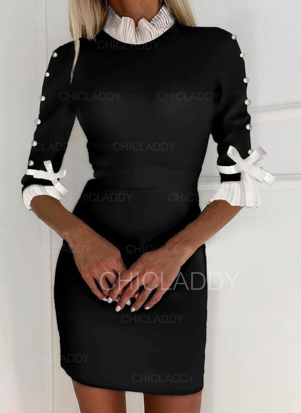 Color-block/Ozdobený Korálky 1/2 rukávy Přiléhavé Nad kolena Elegantní Šaty