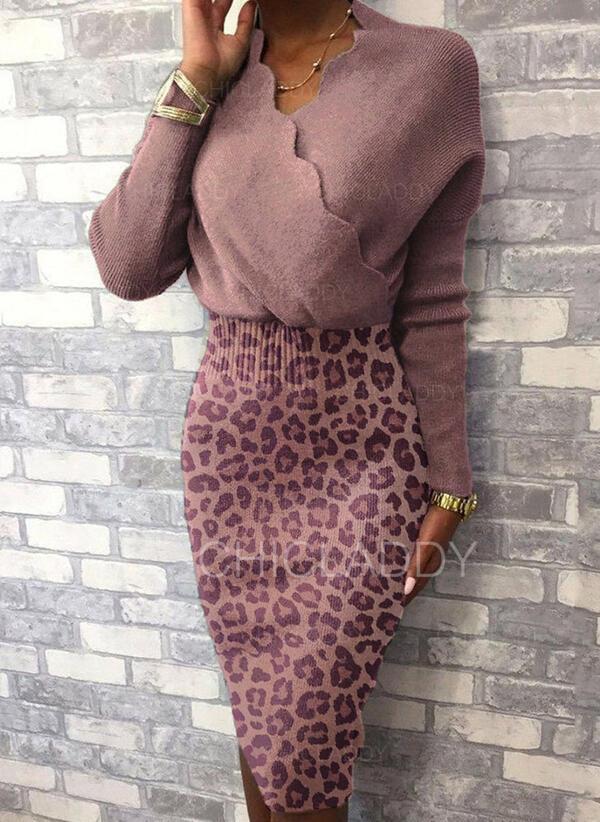 леопард V шеи Повседневная Долго В обтяжку Свитер платье
