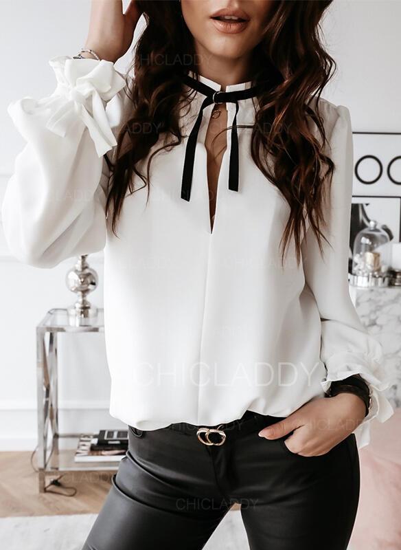 Solido Alzarsi il colletto Maniche lunghe Elegante Camicie