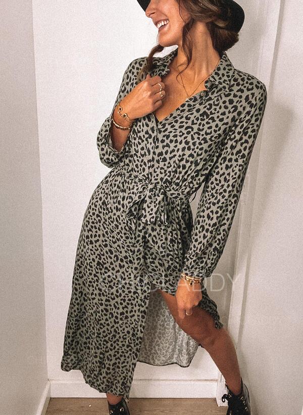 leopardo Maniche lunghe A trapezio Camicia/Pattinaggio Casuale Midi Abiti