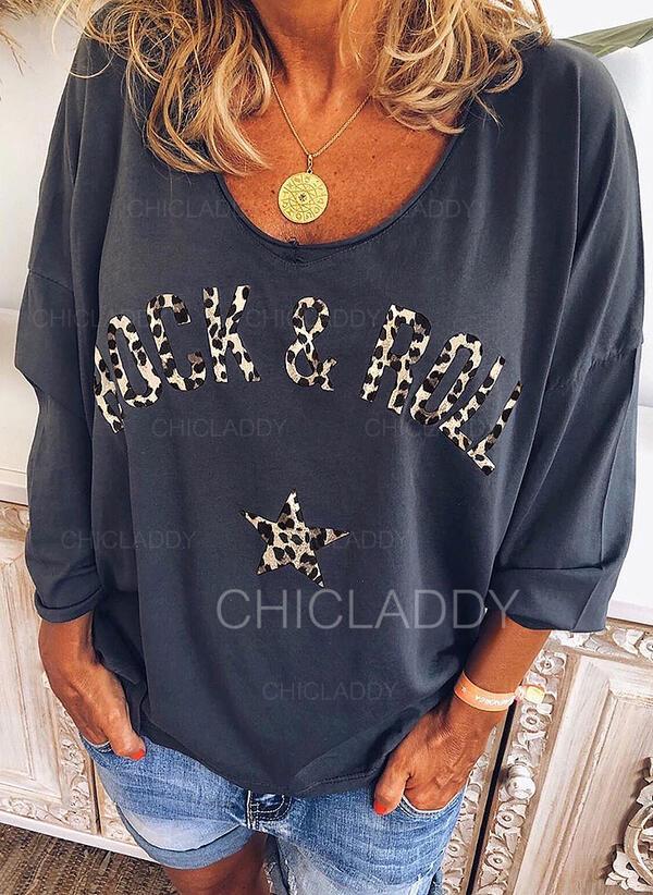 Minta λεοπάρδαλη V-nyak 3/4-es ujjú Hétköznapokra Μπλουζάκια