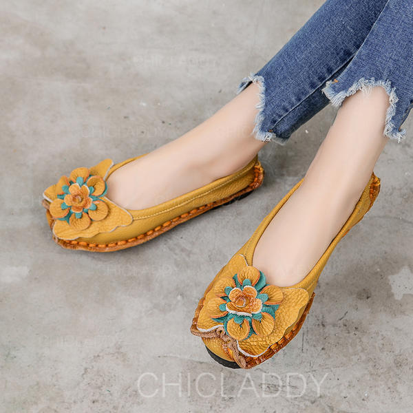 Women's Real Leather Flat Heel Flats Closed Toe With Flower shoes