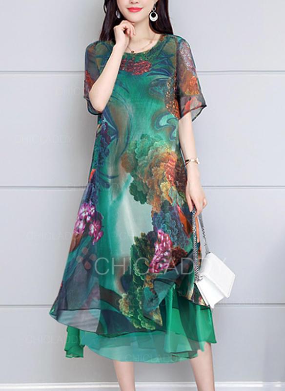 Impresión Manga Corta Acampanado Casual/Elegante Midi Vestidos