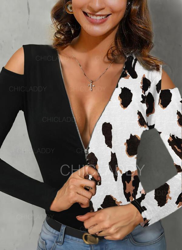 Color Block Leopard Odhalená Ramena Dlouhé rukávy Neformální Sexy Blůzy