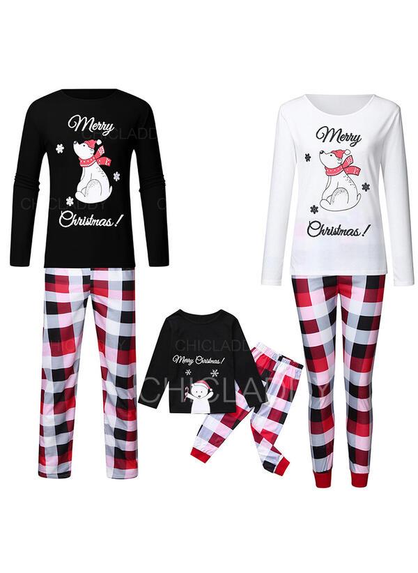 Bear Pläd Print Matchande familj Jul Pyjamas Pyjamas