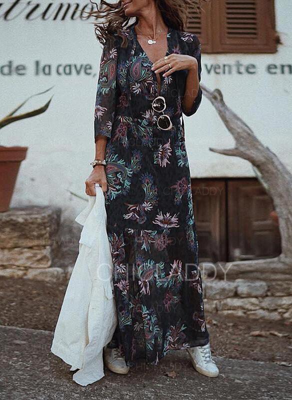 Impresión/Floral Mangas 3/4 Acampanado Patinador Casual/Elegante Maxi Vestidos