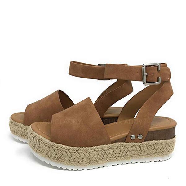 De mujer PU Tipo de tacón Sandalias Cuñas Encaje Tacones con Estampado de animales zapatos