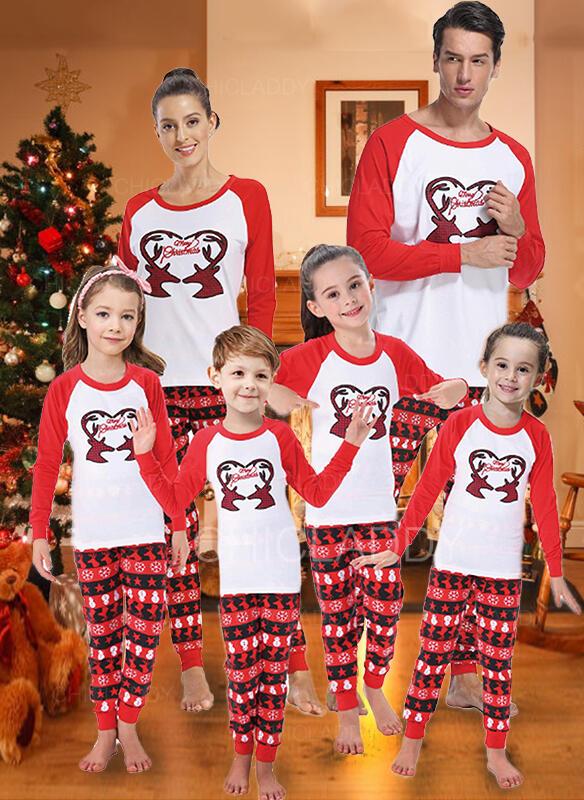 Soby Color Block Dopis Tisk Rodinné odpovídající Vánoční pyžama