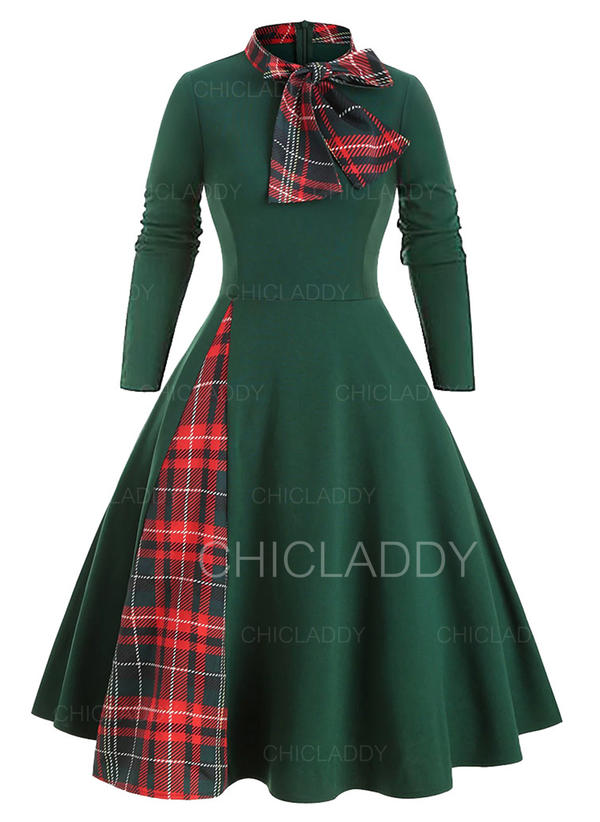 Plaid Long Sleeves A-line Knee Length Christmas/Casual Skater Dresses