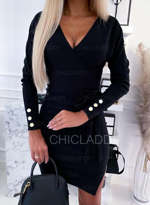 Pevný Dlouhé rukávy Přiléhavé Nad kolena Malé černé/Neformální/Elegantní Šaty