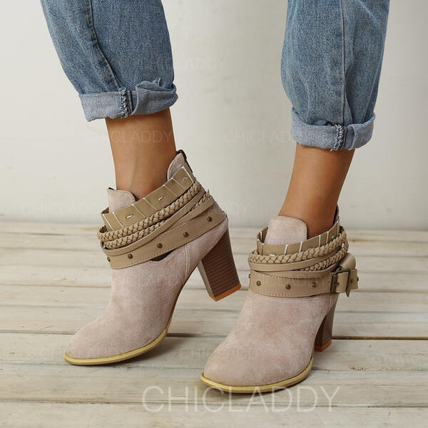 Women's Suede Chunky Heel Ankle Boots