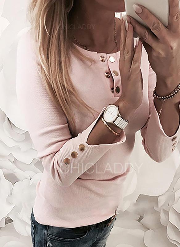 Jednobarevný Kulatý Výstřih Dlouhé rukávy Na Knoflíky Neformální Elegant Bluze