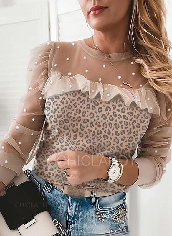 Leopard Ozdobený Korálky Kulatý Výstřih Dlouhé rukávy Elegantní Blůzy
