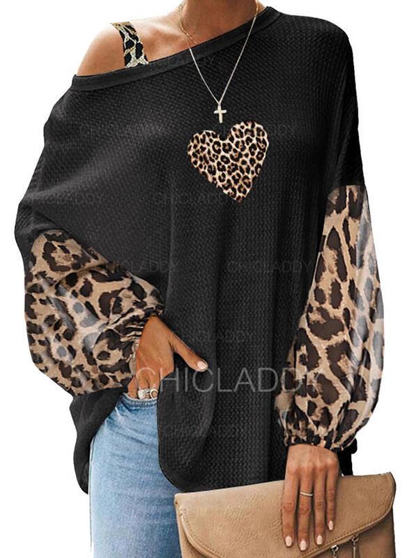 Tisk Leopard Srdce Jedno rameno Dlouhé rukávy Neformální kötött Blůzy