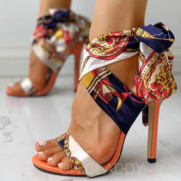 De mujer Tejido Tacón stilettos Sandalias Salón Encaje con Cordones zapatos