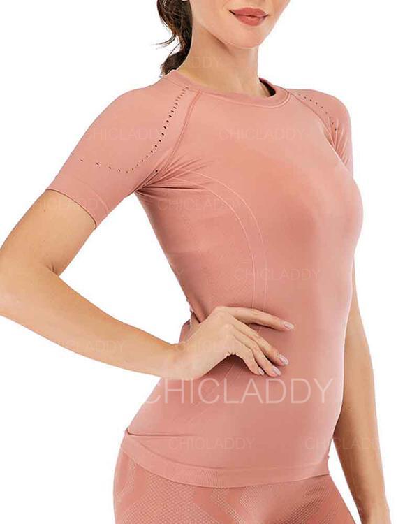 Cuello Redondo Sin mangas Color sólido Camisetas deportivas