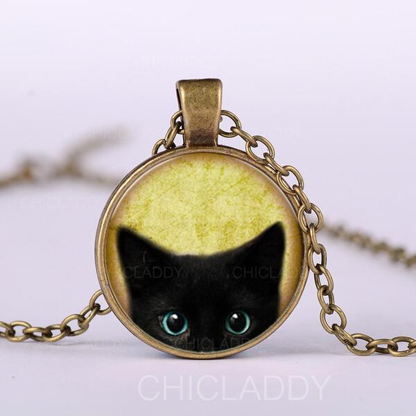 Gatto nero lega Vetro Donna Collane