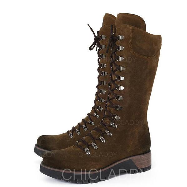 Dámské Koženka Klínový podpatek Boty Martin boty S Šněrovací Solid Color obuv
