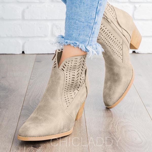 De mujer PU Tacón ancho Salón Botas Botas al tobillo con Agujereado zapatos