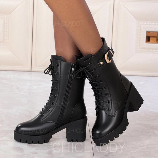 Женский PU Каблук ботинки с пряжка Молния Зашнуровать Сплошной цвет обувь
