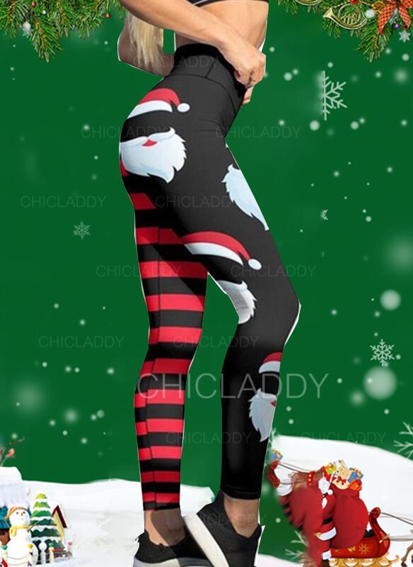 Pruhované Tisk Vánoce Neformální Sportovní Jóga Legíny