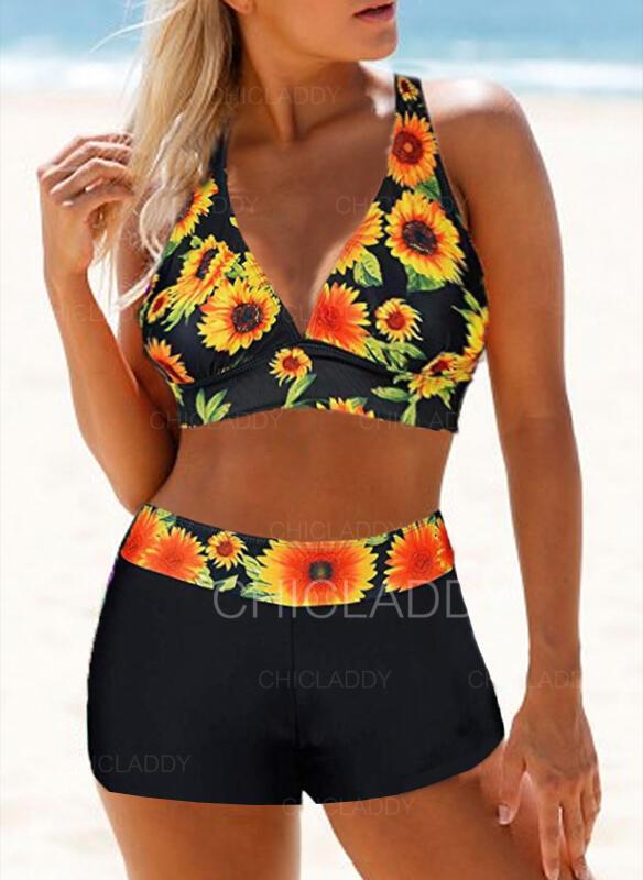 Kwiatowy Nadruk Wiązany na szyi Seksowny Świeży Bikini Stroje kąpielowe