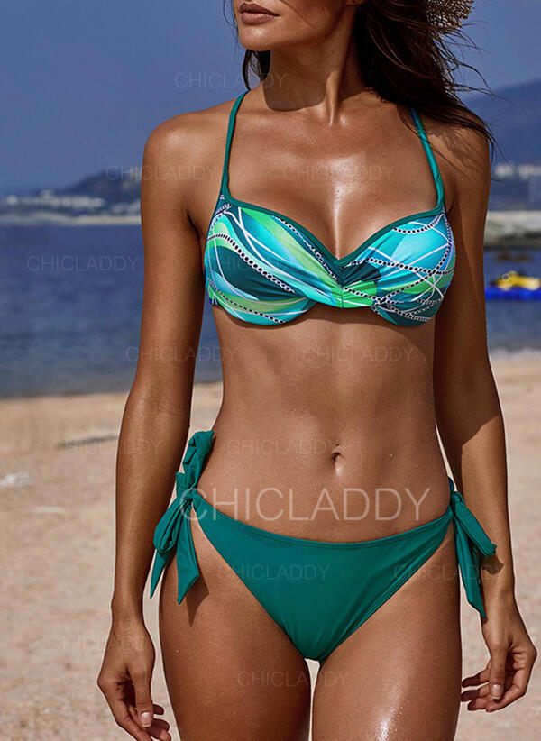 Nadruk Wiązany na szyi Seksowny Świeży Bikini Stroje kąpielowe