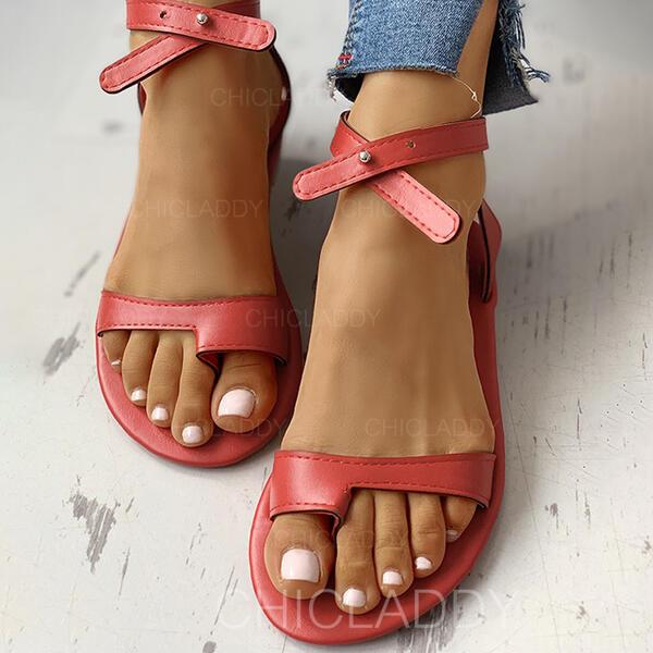 Dla kobiet PU Płaski Obcas Sandały Pierścień na palec Z Tkanina Wypalana W kratke obuwie