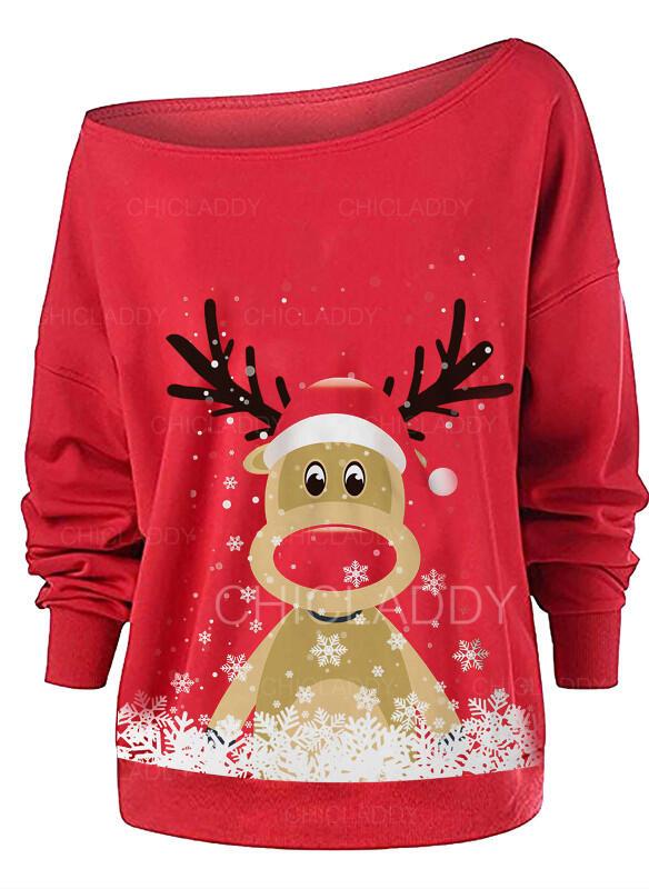 Animal Print Jedno rameno Dlouhé rukávy Vánoční mikina