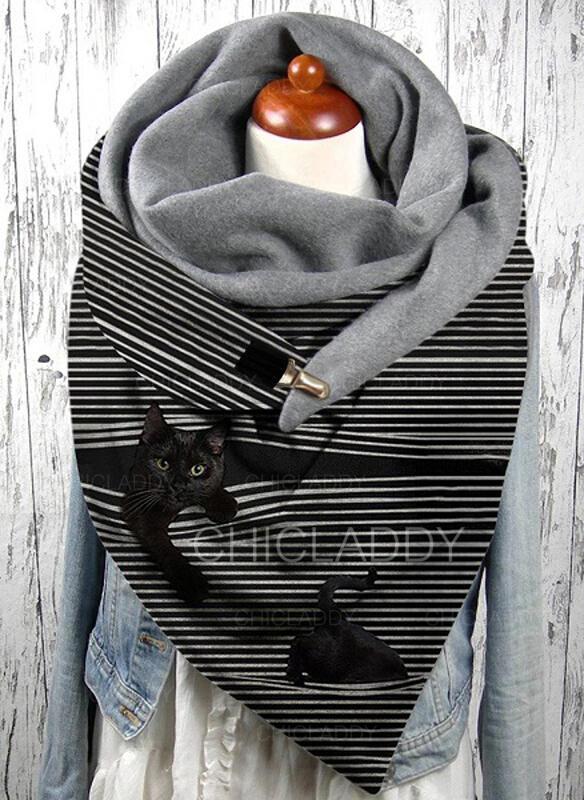 A strisce/Animale attraente/moda/Gatto nero Sciarpa