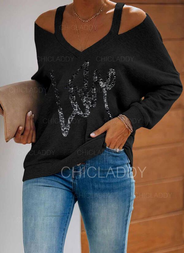 Paillettes Figura Spalle esposte Maniche lunghe Casuale Camicie