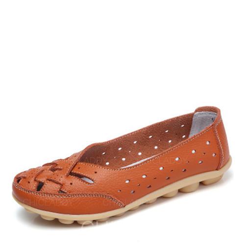 De mujer Piel Tacón plano Planos con Agujereado zapatos