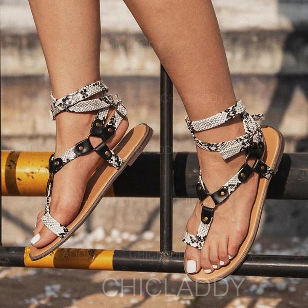 Bayanlar PU Düz topuk Sandalet Ile Toka ayakkabı
