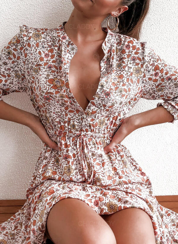 Minta/Virágos Hosszú ujjú/Puffos ujjú A-vonal Térd feletti Hétköznapokra φορέματα