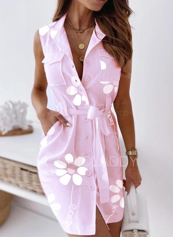 Nadrukowana/Kwiatowy Bez rękawów Pokrowiec Nad kolana Casual Koszula Sukienki