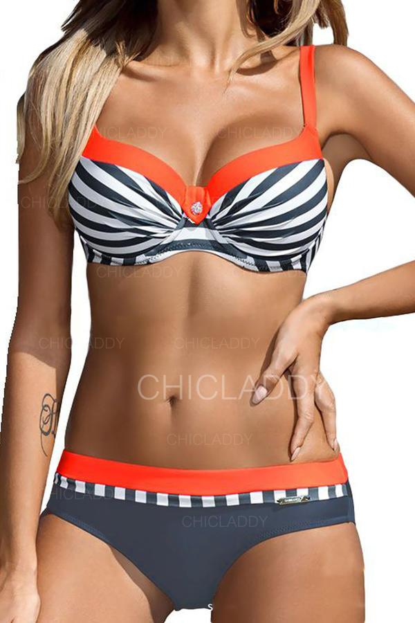 Stripe Strap Fashionable Plus Size Bikinis Swimsuits