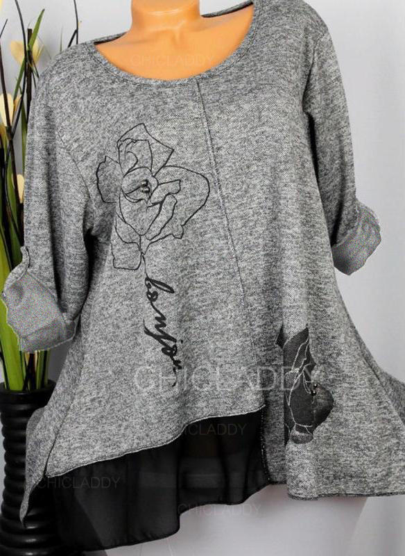 Estampado Floral Gola Redonda Manga Comprida Casual Tricô Blusas