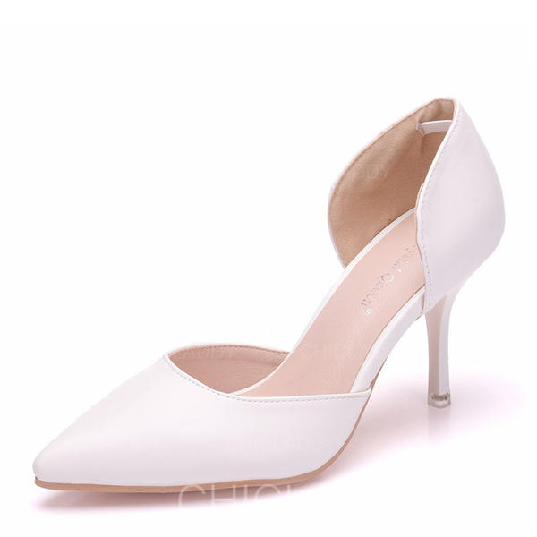 Pentru Femei Imitaţie de Piele Toc Spool Închis la vârf Încălţăminte cu Toc Înalt Sandale