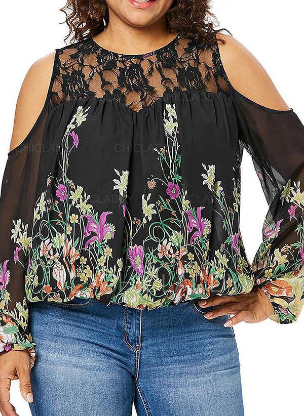 Print Floral Lace Cold Shoulder Long Sleeves Casual Plus Size Blouses