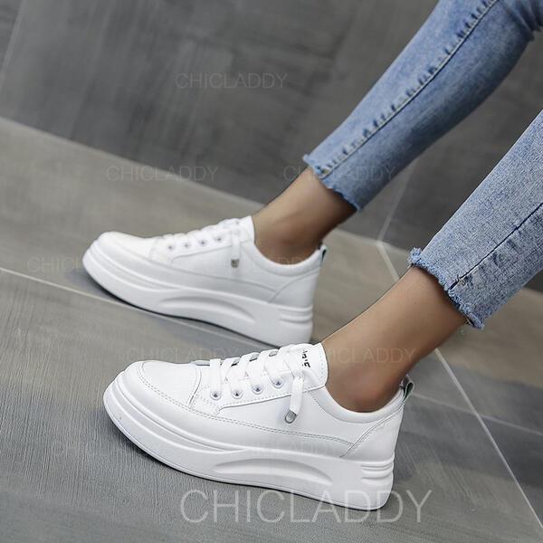 Dámské PU Placatý podpatek Boty Bez Podpatku S Šněrovací Solid Color obuv