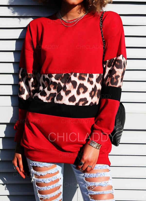 Színblokk Leopard Kulatý Výstřih Dlouhé rukávy Mikina