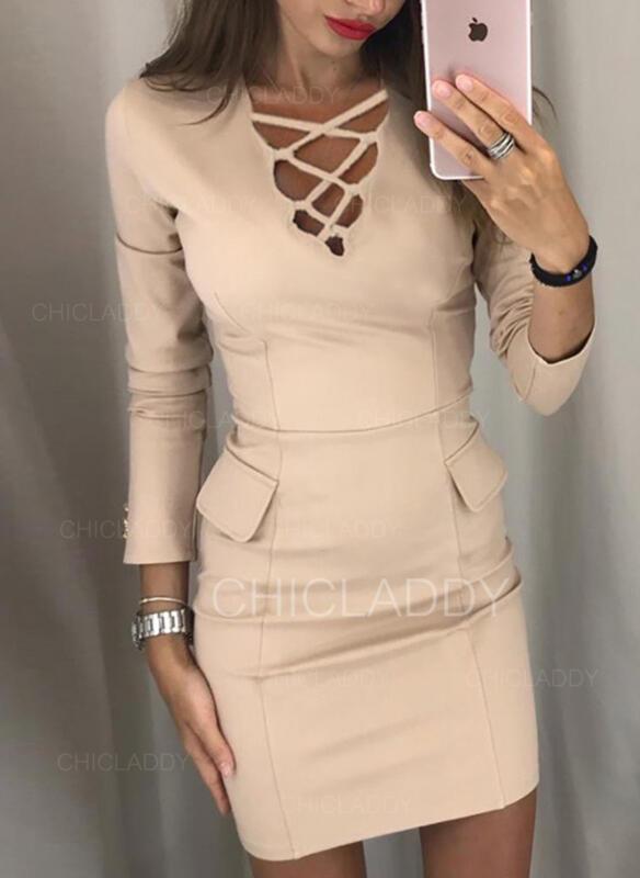 Pevný Dlouhé rukávy Přiléhavé Nad kolena Elegantní Šaty