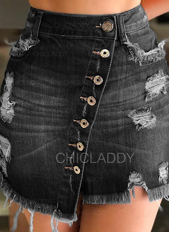 Polyester Nášivky Ozdobený Korálky Nad kolena Sukně do tvaru A