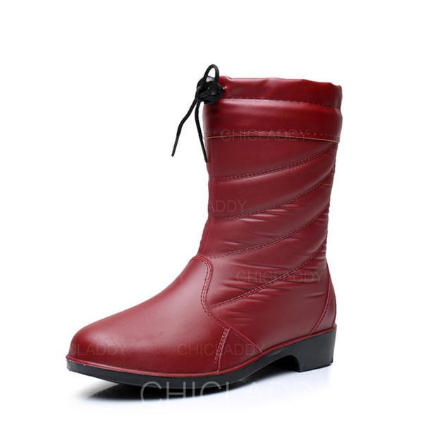 Kvinnor PVC Låg Klack Stövlar Halva Vaden Stövlar Gummistövlar med Bandage skor