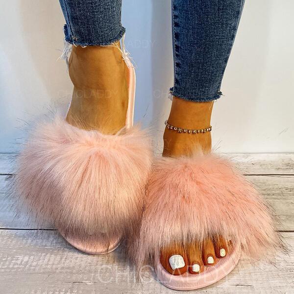Dámské Falešná srst Placatý podpatek Sandály Boty Bez Podpatku S otevřenou špičkou Pantofle S Solid Color obuv